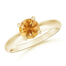 Tapered Shank Citrine Solitaire Ring 14K Yellow Gold