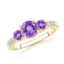 Three Stone Round Amethyst Ring with Diamond Accents 14K yellow Gold