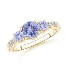Three Stone Round Tanzanite Ring with Diamond 14K Yellow Gold