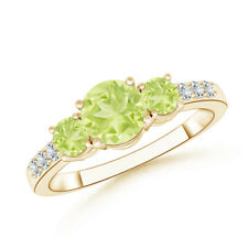 Three Stone Peridot Ring with Diamond Accents 14K Yellow Gold