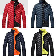 Mens Slim Fit Quilted Jacket Lightweight Down Cotton Coat Outwear Parka Trench
