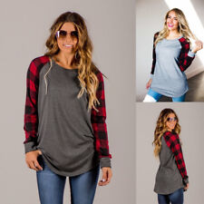 Women Ladies Tee Shirt Casual Long Sleeve Crew Neck Plaid Patchwork Blouse Tops