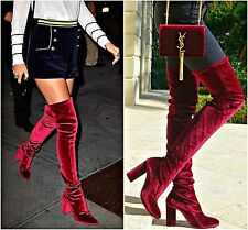 ZARA Burgundy Velvet Over-The-Knee Stretch Boots Woman Authentic BNWT 5008/101