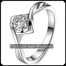 0.50Ct VVS1 Solitaire DIAMOND Platinum PT950 Promise Ring Engagement Band IRENE