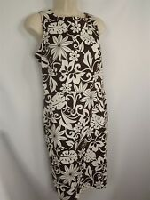 Signature London Style Floral Bold Sheath Dress Stretch Cotton Women's 10