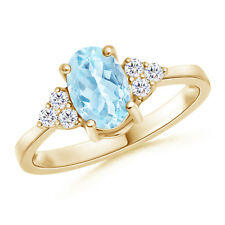 Solitaire Oval Aquamarine and Diamond Promise Ring 14K Yellow Gold