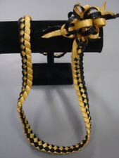 Hawaiian Braid Metalic Edge Ribbon Lei Black and Gold