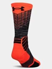 UNDER ARMOUR UA BASKETBALL Orange-red with black/gray Crew SOCKS msrp $ 17.99