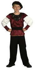 Tudor Renaissance Prince Medieval King Noble Boys Costume Outfit Hat New 6 - 8
