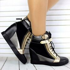 WOMENS LADIES HIGH WEDGE HEEL HIGH TOP SNEAKERS TRAINERS SHOES ANKLE BOOTS UK 3