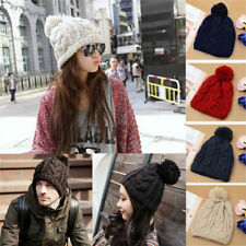 New Fashion Winter Warm Women Men Knit Ski Beanie Ball Wool Cuff Hat Ski Cap HOT