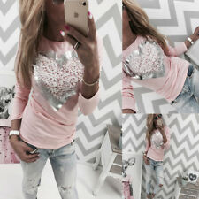 Womens Ladies Long Sleeve Crew Neck Floral Print Casual Blouse T-Shirt Tee Tops