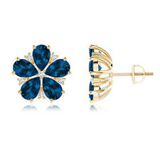 Natural London Blue Topaz Diamond Flower Stud Earrings 14k Yellow Gold
