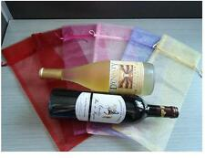 10Pcs Sheer Organza Wine Bottle Gift Bags Cover For Holiday Party Wedding、Pop