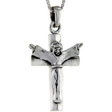 "Sterling Silver Jesus Christ Crucifix Cross Pendant Charm 1 3/8"" tall"
