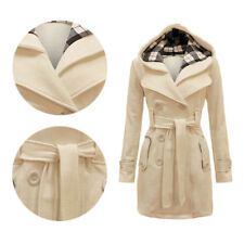 Military Button Womens Hooded Fleece Jacket Coat Ladies Belted