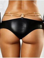 BLACK with GOLD CHAINS BRIEF STYLE LINGERIE PANTYS-Choose Size 8-10