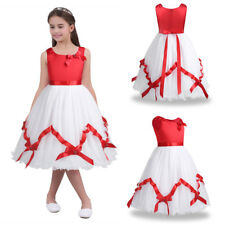 Kids Girls Satin Mesh Christmas Flower Girl Dress Princess Pageant Party Dress
