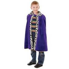 ROYAL PURPLE KINGS QUEENS PRINCE ROBE BOYS GIRLS CAPE COSTUME FANCY DRESS NEW