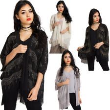 New Womens Sequin Poncho style Kimono Jacket Evening Cocktail Party Jacket Coat