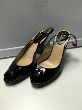 COLE HAAN Women's Black Shiny Patent Peep Toe Slingback High Heels Sz 8 B3026