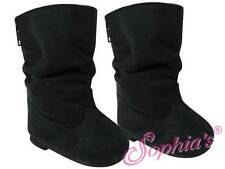 """Black Suede Slouchy Boots fits 18"""" American Girl Dolls"""