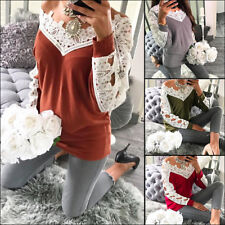 Women Ladies Sexy Lace V Neck Long Sleeve Fashion Fitted T-Shirt Blouse Tops