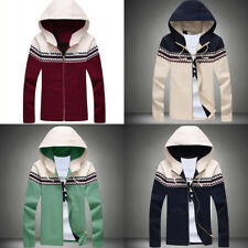 Mens Slim Fit Hooded Patchwork Thin Knit Jacket Houndstooth Coat Outwear M-5XL