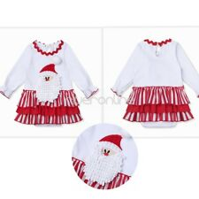 Christmas Infant Baby Girl Santa Claus Ruffled Dress Romper Outfit Costume 3-24M
