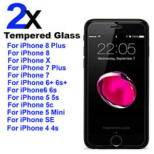 Pack of 2 Tempered Glass Screen Protector For iPhone 8 7 6 Plus X 7 6S 5 5S SE 4