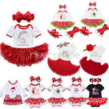 Newborn Baby Girls Christmas Santa Claus Tutu Fancy Dress Romper Outfits Costume