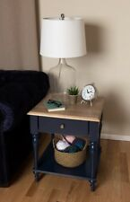 Rustic Wood Top Nightstand Side Table With Drawer & Shelf For Bedroom Navy Blue