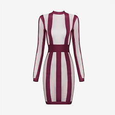 Boutique Women Sexy Bodycon Bandage Cocktail Party Long Sleeve Striped Dress