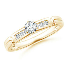 Channel-Set Diamond Solitaire Engagement Ring 14K Yellow Gold