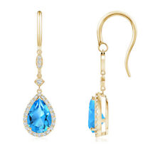 Pear-Shaped Swiss Blue Topaz Drop Earrings with Diamond 14K Yellow Gold