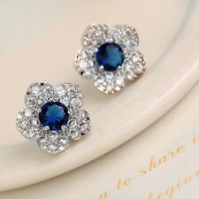 Earrings Blue Crystal Full Diamond Exquisite Hot Silver Female Fashion Flowers