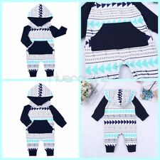 Newborn Baby Boy Girl Hooded Romper Jumpsuit Bodysuit Cotton Clothes Warm Outfit