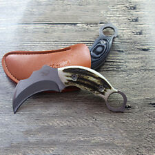 Tactical Hunting Knife Steel Fixed Blade Knifes Karambit Pocket Knives + Case