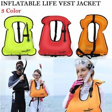 Adult Kid Life Jacket Snorkeling Gear Swimwear Oral Inflation Inflatable Vest ZQ