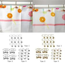 PACK 12 Shower Curtain Rings Gliding Hooks Curtain Sunblind Tieback Gold/Silver