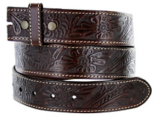 Western Style Genuine Leather Belt Strap -brass snaps for interchangeable buckle