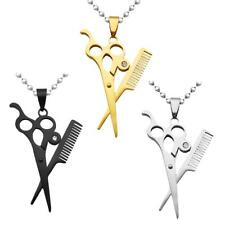 Hair Scissor Comb Dangle Pendant Necklace Chain Hair Stylist Jewelry Gifts