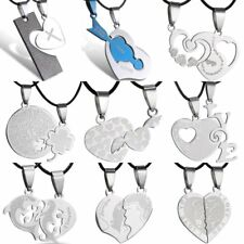 Women Men's Stainless Steel Couple Heart Pendant Necklace Valentine's Day Gift