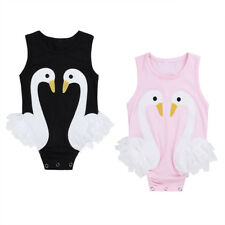 Infant Newborn Baby Girls Swan Romper Cotton Bodysuit Jumpsuit Sunsuit Clothes