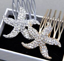 1 Piece Gold Or Silver Starfish Beach Star Rhinestone Crystal Wedding Hair Comb