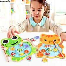 Baby Wooden Fishing Game Magnetic Puzzle Board Kids Jigsaw Puzzle B77K