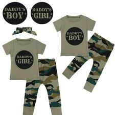 Kids Baby Boy Girl Camo Short Sleeve T-shirt Top + Long Pants Clothes Outfit