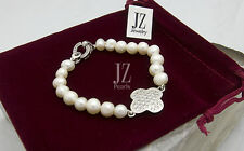 Freshwater Pearl Bridal Bracelet S/Silver Crystal Clasp& Connector Earrings.