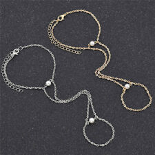 Lady Hand Slave Chain Finger Ring Bracelet with Artificial Pearl Harness Jewelry