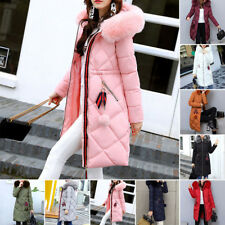 New Winter Women long Down Cotton Parka Fur Collar Hooded Coat Quilted Jacket
